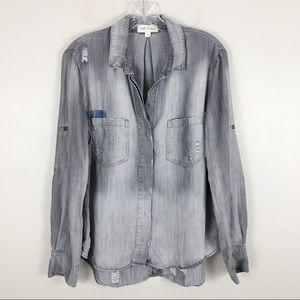 Cloth & Stone Distressed Flannel Patch Shirt Sz M